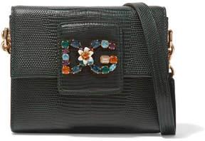 Dolce & Gabbana Millennials Embellished Lizard-effect Leather Shoulder Bag - Dark green