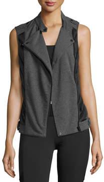 Blanc Noir Quilted Inset Moto Athletic Vest Black/Gray