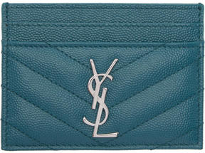 Saint Laurent Green Quilted Monogram Card Holder - GREEN - STYLE