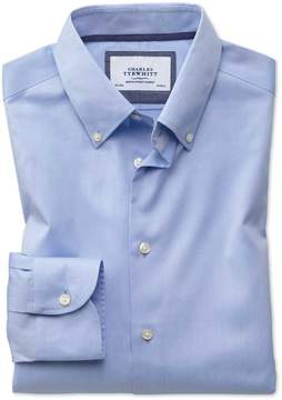 Charles Tyrwhitt Slim Fit Button-Down Business Casual Non-Iron Sky Blue Cotton Dress Shirt Single Cuff Size 14.5/33