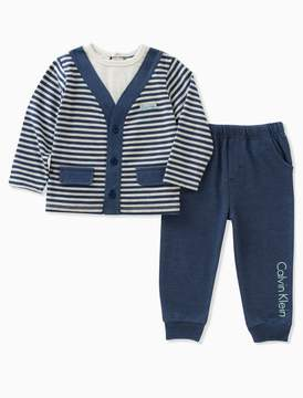 Calvin Klein boys striped cardigan pants set