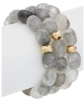 Devon Leigh 24k Electroplated Quartz Set Of 3 Stretch Bracelets.