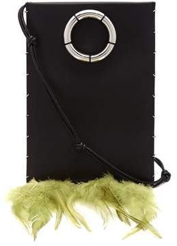 The Row Medicine Feather Trimmed Leather Cross Body Bag - Womens - Black Green
