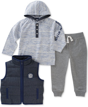 Calvin Klein 3-Pc. Quilted Vest, Hoodie & Pants Set, Baby Boys (0-24 months)