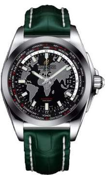 Breitling Galactic Unitime Black Dial Green Leather Men's Watch WB3510U4-BD94GRCD