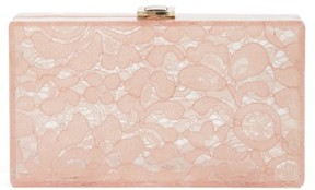 Nordstrom Transparent Lace Box Clutch - Pink
