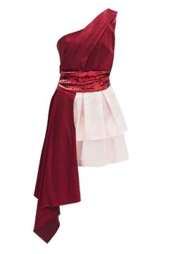 Christian Pellizzari Bordeaux And Pink Asymmetric Dress With Red Sequin Waistband.