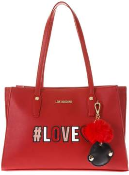 Love Moschino Red Shopping Bag With Key Ring