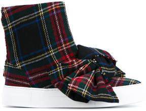 Joshua Sanders Tartan Wool High-Top Sneakers with Bow