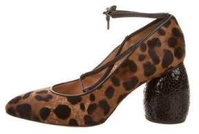 Dries Van Noten Ponyhair Leopard Print Pumps