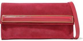 Halston Leather-Trimmed Embellished Faux Suede Clutch