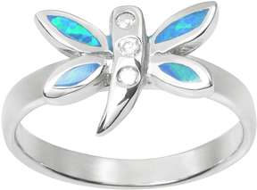 Journee Collection Simulated Opal and Cubic Zirconia Sterling Silver Dragonfly Ring