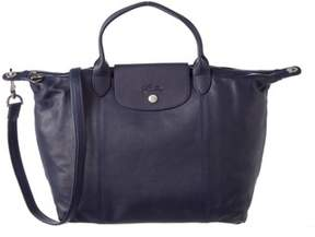 Longchamp Le Pliage Cuir Medium Leather Top Handle. - NAVY - STYLE