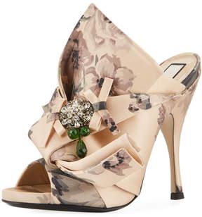 No.21 No. 21 Floral-Print Satin Sandal