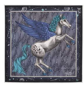 Aspinal of London | Pegasus Feather Silk Twill Scarf In Midnight Blue 27.5 X 27.5 | Blue pure silk