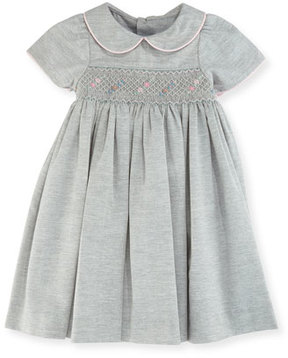 Luli & Me Smock Dress w/ Flower Detail, Size 12-24 Months