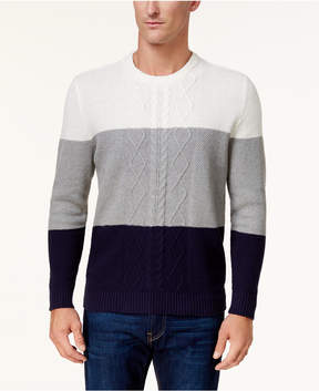 Club Room Men's Colorblocked Cable Knit Sweater, Created for Macy's
