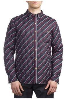 Moncler Men's Polyester Checkered Stripe Down Jacket Navy Blue.