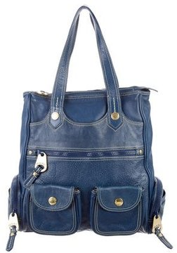 Marc Jacobs Grained Leather Tote - BLUE - STYLE