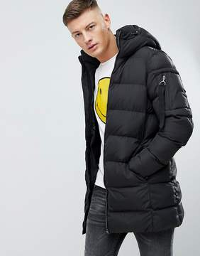 Pull&Bear Puffer Parka Jacket In Black