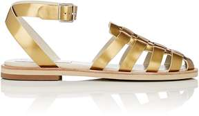 Jil Sander Navy WOMEN'S METALLIC LEATHER ANKLE-STRAP SANDALS