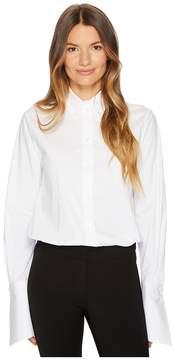 Jil Sander Navy Cotton Poplin Long Sleeve Collared Shirt
