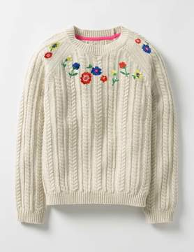Boden Embroidered Cable Sweater