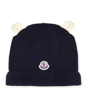 Moncler Berretto Animal Ears Knit Beanie Hat, Navy, Infant