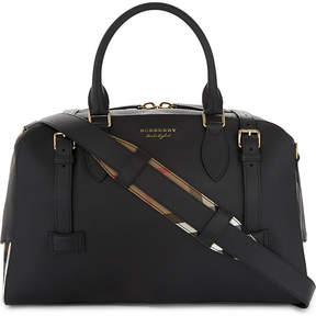 Burberry Bankston house check leather holdall - BLACK - STYLE