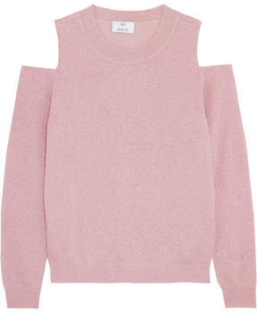 Allude Cold-shoulder Metallic Wool-blend Sweater - Pink