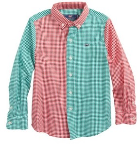 Vineyard Vines Boy's Party Gingham Whale Shirt