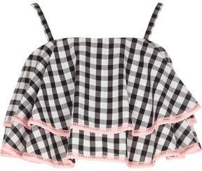 River Island Girls black gingham print frill cami crop top