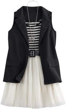 Knitworks Girls 7-16 Blazer Vest & Tulle Skater Dress Set with Necklace