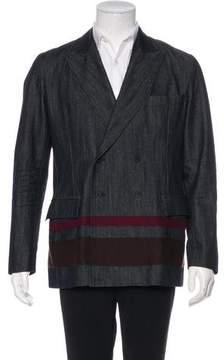 Bottega Veneta Double-Breasted Striped Chambray Coat