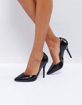 Glamorous Black Snake Heeled Pumps