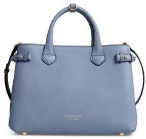 Burberry Medium Banner House Check Leather Tote - Blue - BLUE - STYLE