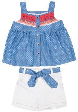 Little Lass Baby Girl Polka-Dot Tank Top & Cuffed Shorts Set