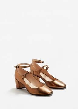 MANGO Ankle strap metallic shoes
