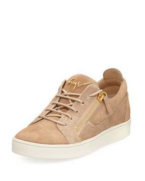 Giuseppe Zanotti Men's Suede & Calf Hair Double-Zip Low-Top Sneakers