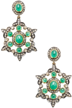 Artisan Women's 14K Yellow Gold, Silver, Emerald & 3.26 Total Ct. Diamond Drop Earrings