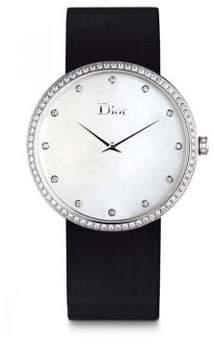 Christian Dior La D de Diamond, Stainless Steel & Satin Strap Watch