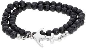 Lynx Men's Stainless Steel Black Lava Bead Anchor Wrap Bracelet