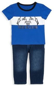 True Religion Baby's Two-Piece Cotton Paneled Buddha Tee & Jeans Set