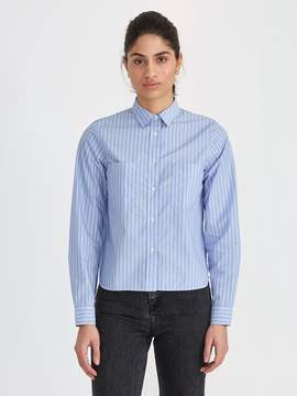 Frank and Oak Papertouch Striped Big Shirt in Blue