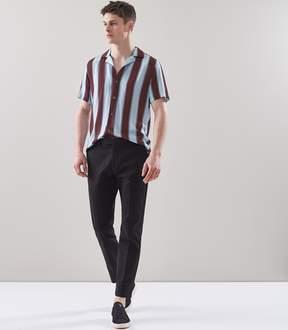 Reiss Bella Block Stripe Cuban Collar Shirt