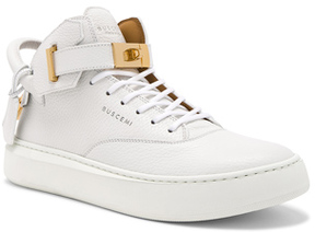 Buscemi 100MM Leather Mid Sneakers in White.