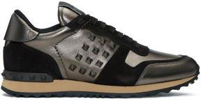 Valentino Gunmetal and Black Garavani Rockstud Sneakers