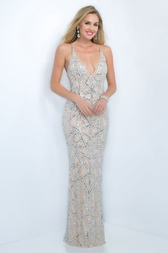 Blush Lingerie Sparkling Plunging Long Dress 7005
