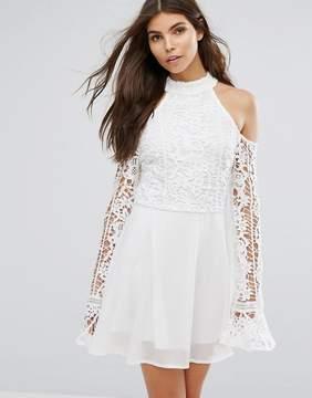 Club L Cut Out Shoulder Lace Detail Skater Dress