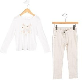 Chloé Girls' Wolf Print Long Sleeve Pant Set w/ Tags